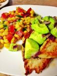 Cayenne Rubbed Chicken with Avocado Relish and Corn Salsa