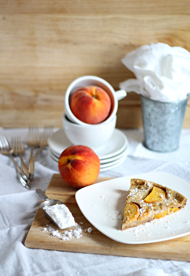 Chai Peach Clafoutis from If Looks Could Kale food blog.