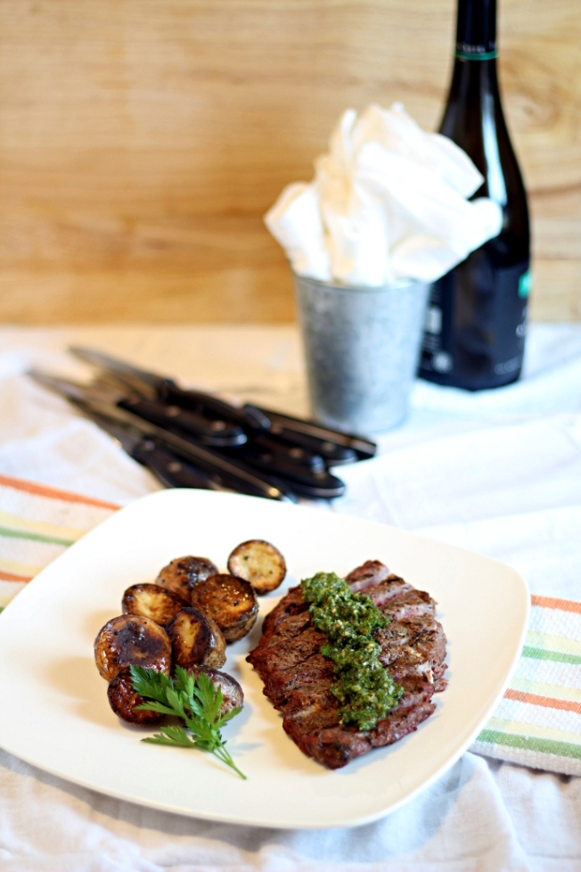 Argentinian Espresso-Rubbed Steak with Chimichurri Sauce from If Looks Could Kale